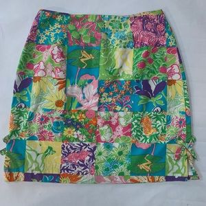 Lilly Pulitzer Classic Patchwork Print Skirt sz 12